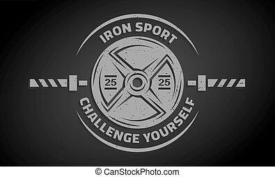 gewicht, kruis, schijf, training., barbell.