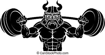gewicht, lichaam, mascotte, viking, het tilen, gebouw