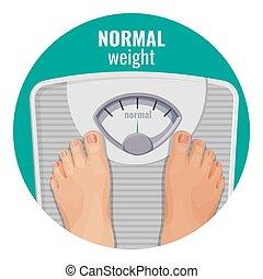 gewicht, normaal, schalen, vrijstaand, voetjes, menselijk, witte