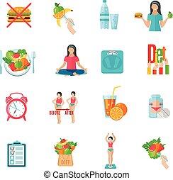 gewicht, satz, diät, locker, heiligenbilder, wohnung