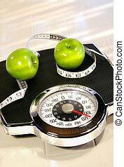gewicht schaal, met, groen appel
