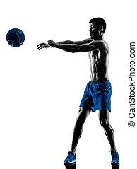 gewichte, mann, silhouette, trainieren, fitness