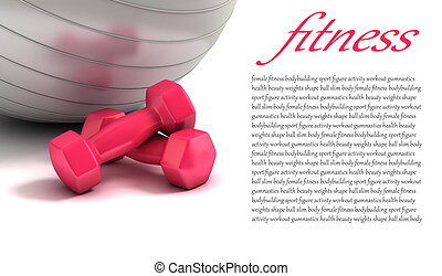 gewichten, bal, fitness