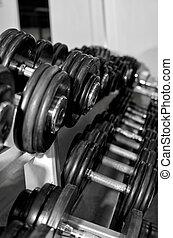 gewichtstraining, ausrüstung, in, fitneßklub