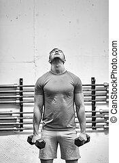 gewichtstraining, fitness, mann
