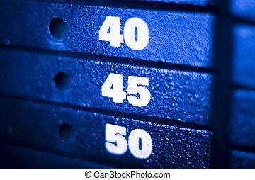 gewichtstraining, maschine, in, fitness, turnhalle