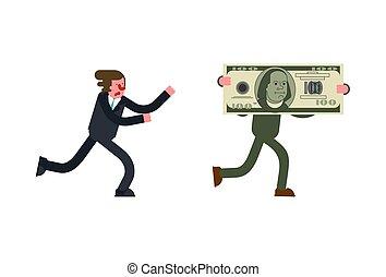 gewinn, geschäftsmann, läufe, geld., boss.