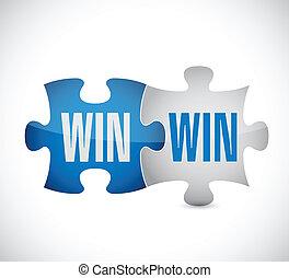 gewinnen, gewinnen, puzzel, abbildung, design