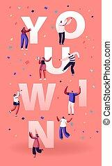 gewinnen, karikatur, wohnung, erfolg, tanzen, freuen, concept., abbildung, neu , banner, heiter, projekt, feiern, leute, sie, sieg, hände, flieger, auf., brochure., vektor, angestellte, plakat, lachender