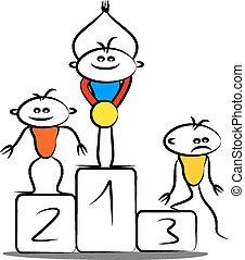gewinnen, podium