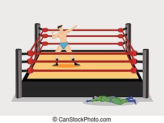 gewinnen, ringer, ringen, ring, karikatur, vektor, abbildung