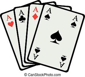 gewinnen, vier asse, karten, hand, spielende