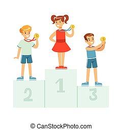 gewinner, glücklich, athleten, abbildung, medaillen, vektor, stehende , podium, kinder, karikatur, kinder, sockel