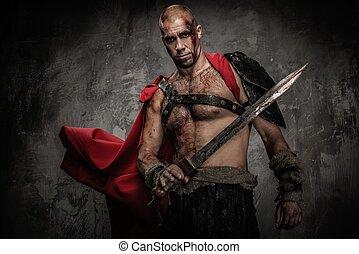 gewond, gladiator, met, zwaard, bedekt, in, bloed