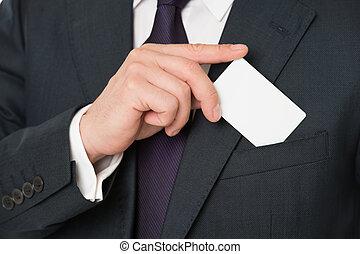gewoonte, de kaart van het debet, design., mannelijke , hand, zetten, plastic, leeg, witte , kaart, om te, zak, classieke, kostuum, jacket., zakenmens , dragen, krediet, card., bankwezen diensten, voor, business., pasklaar ontwerp, vervaardiging, jouw, kaart, uniek