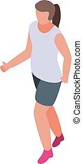 gewoonte, pictogram, stijl, rennende , isometric