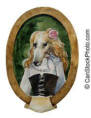 geyhound dog portret watercolor royal dog seria