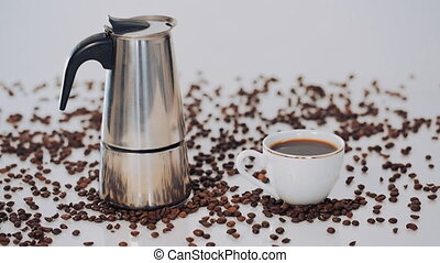 geyser coffee maker, coffee Cup and coffee beans on white...