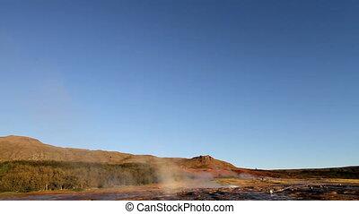 Geyser erupting - Famous geyser in Iceland called Strokkur....