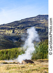 geyser in Haukadalur valley in Iceland