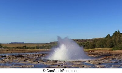 Geyser in Iceland - Famous Geyser eruption in a sunny day,...
