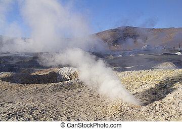 Geyser in Uyuni, Bolivia - Salt lake desert