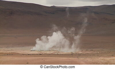 Geyser Vapours In Salt Flats, Altiplano, Bolivia - Medium...