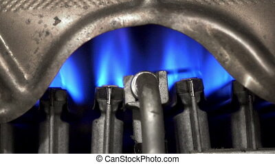 Geyser, water heater. The flame of a torch burns, Gas copper...