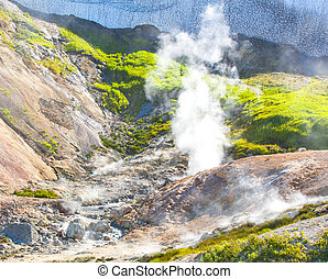 Geysers on the Mutnovsky volcano in Kamchatka
