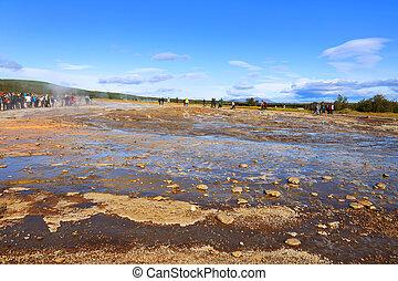 Geysir area in Iceland, Europe
