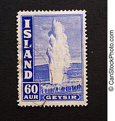Geysir - Vintage postage stamp from iceland with image of ...