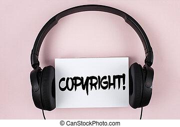 gezegde, concept, tekst, intellectueel, kleverig papier, roze, auteursrecht, nee, piraterij, volgende, aantekening, geschreven, witte , call., it., motivational, betekenis, achtergrond, koptelefoon, vlakte, handschrift, eigendom