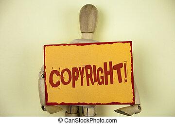 gezegde, foto, intellectueel, kleverig papier, auteursrecht, nee, piraterij, schrijvende , aantekening, geschrijvenene tekst, conceptueel, call., het tonen, zakelijk, toy., motivational, hand, achtergrond, houten, vlakte, robot, eigendom