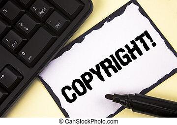 gezegde, foto, intellectueel, kleverig papier, teken, auteursrecht, nee, piraterij, schrijvende , aantekening, geschrijvenene tekst, conceptueel, keyboard., call., zakelijk, het tonen, motivational, hand, achtergrond, vlakte, eigendom