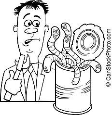 gezegde, spotprent, open, wormen, groenteblik