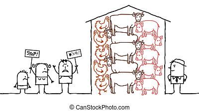 gezegde, vlees, mensen, nee, intensief, fabriekshal, spotprent
