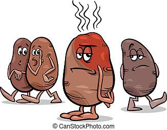 gezegde, warme, spotprent, aardappel