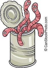 gezegde, wormen, spotprent, groenteblik