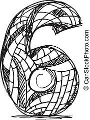 gezeichnet, abstrakt, hand, zählen 6