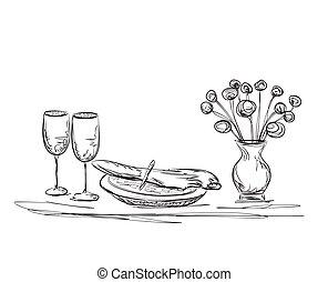 Gedeckter tisch gezeichnet  Vektoren Illustration von tisch, etikette, gezeichnet, abbildung ...