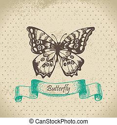 gezeichnet, butterfly., abbildung, hand