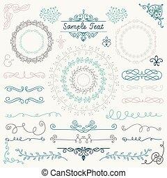 gezeichnet, design, bunte, elements., hand