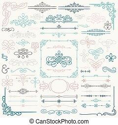 gezeichnet, elemente, design, hand