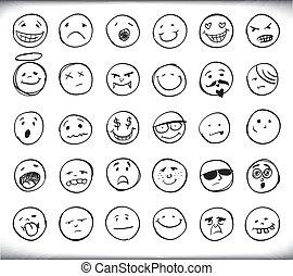 gezeichnet, emoticons, hand