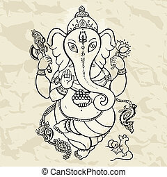 gezeichnet, ganesha, illustration., hand
