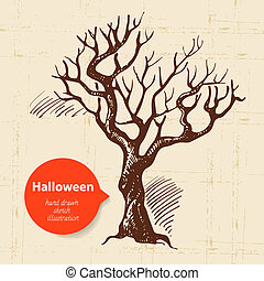 gezeichnet, halloween, abbildung, hand
