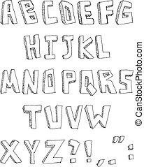 gezeichnet, hand, alphabet