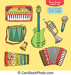 gezeichnet, hand, musikinstrument