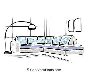 Sofa gezeichnet  Clipart Vektor von gezeichnet, hand, sofa - sketch., sofa, hand ...