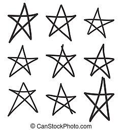 gezeichnet, hand, star., satz